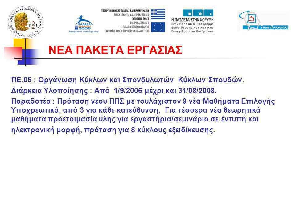 ΠΕ.05 : Οργάνωση Κύκλων και Σπονδυλωτών Κύκλων Σπουδών. Διάρκεια Υλοποίησης : Από 1/9/2006 μέχρι και 31/08/2008. Παραδοτέα : Πρόταση νέου ΠΠΣ με τουλά