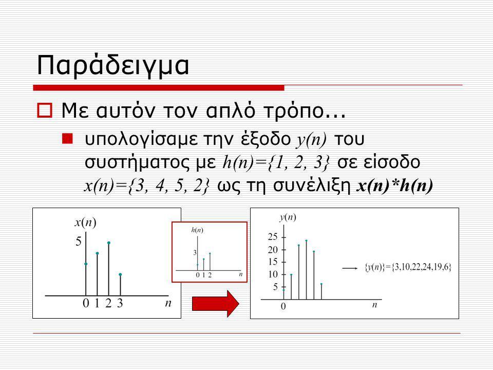 Μέθοδος των διαγωνίων Γράφουμε τις Ν τιμές του σήματος εισόδου στις στήλες ενός πίνακα Γράφουμε τις Μ τιμές της κρουστικής απόκρισης στις γραμμές του ίδιου πίνακα Στα κελιά του πίνακα γράφουμε το γινόμενο των αντίστοιχων τιμών Η συνέλιξη είναι τα αθροίσματα όλων των διαγωνίων του πίνακα πάνω δεξιά -> κάτω αριστερά Οποιος κατάλαβε, στον πίνακα!!.
