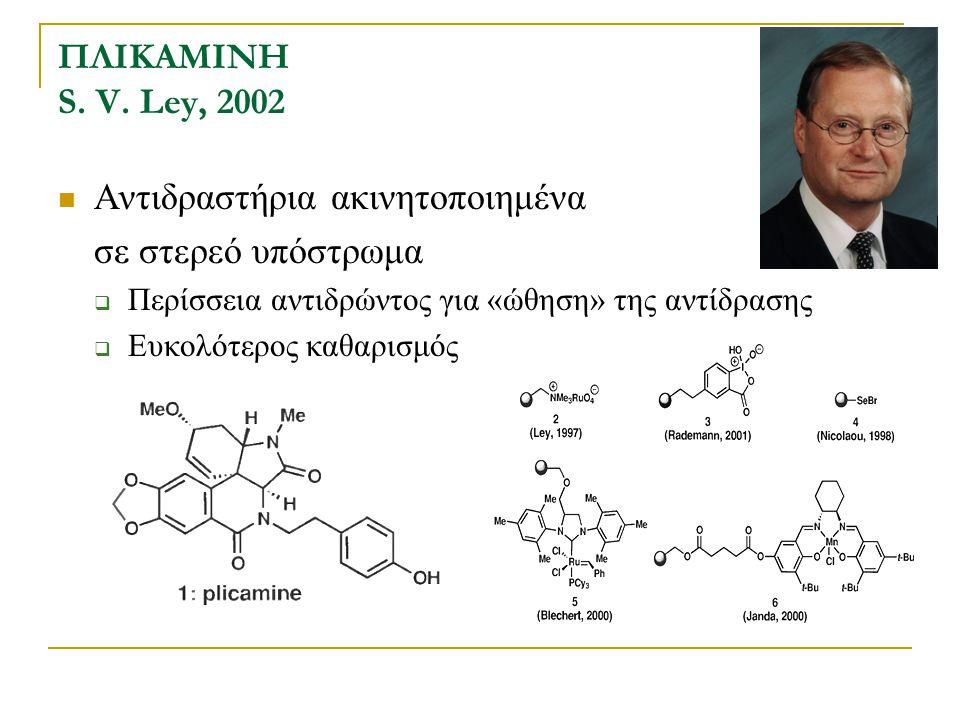 ΠΛΙΚΑΜΙΝΗ S. V. Ley, 2002 Αντιδραστήρια ακινητοποιημένα σε στερεό υπόστρωμα  Περίσσεια αντιδρώντος για «ώθηση» της αντίδρασης  Ευκολότερος καθαρισμό