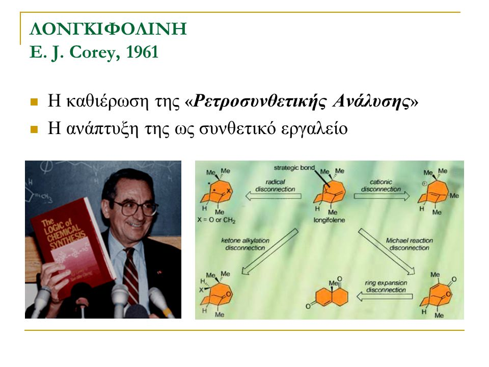 ΛΟΝΓΚΙΦΟΛΙΝΗ E. J. Corey, 1961 Η καθιέρωση της « Ρετροσυνθετικής Ανάλυσης » Η ανάπτυξη της ως συνθετικό εργαλείο