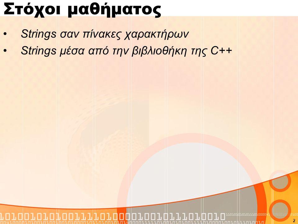 Εισαγωγή Στη C δεν υπάρχει ο τύπος String (όπως float, int, char), αλλά αυτός υλοποιείται ως πίνακες χαρακτήρων Μπορούμε να ορίσουμε το String σαν ένα πίνακα από χαρακτήρες που τελειώνει με τον χαρακτήτα NULL '\0', π.χ.