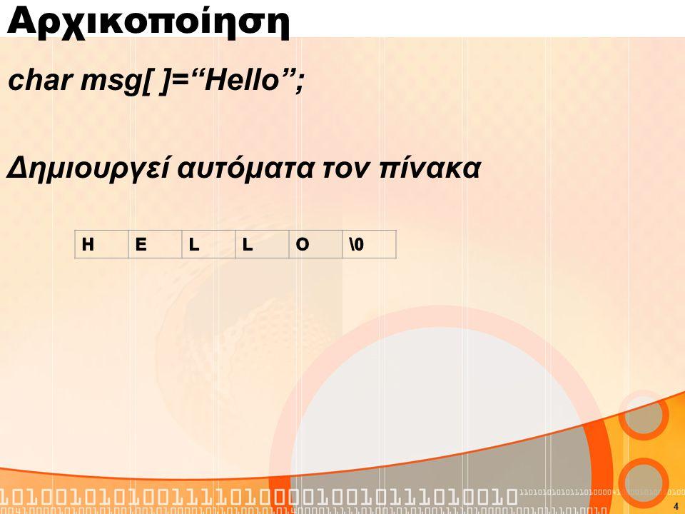 Αρχικοποίηση char msg[ ]= Hello ; Δημιουργεί αυτόματα τον πίνακα 4