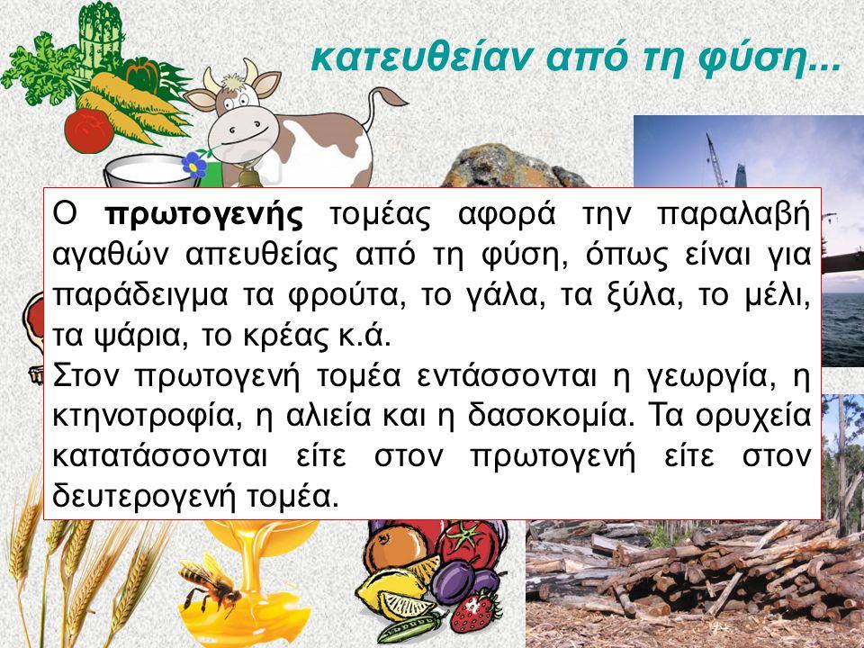 κατευθείαν από τη φύση... Ο πρωτογενής τομέας αφορά την παραλαβή αγαθών απευθείας από τη φύση, όπως είναι για παράδειγμα τα φρούτα, το γάλα, τα ξύλα,