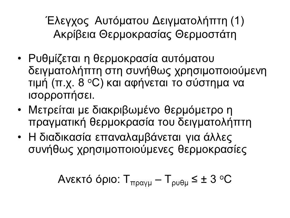 Έλεγχος Αυτόματου Δειγματολήπτη (1) Ακρίβεια Θερμοκρασίας Θερμοστάτη Ρυθμίζεται η θερμοκρασία αυτόματου δειγματολήπτη στη συνήθως χρησιμοποιούμενη τιμή (π.χ.