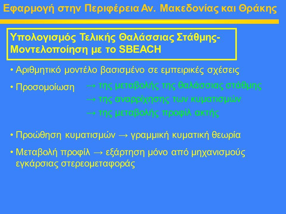 Εφαρμογή στην Περιφέρεια Αν. Μακεδονίας και Θράκης Υπολογισμός Τελικής Θαλάσσιας Στάθμης- Μοντελοποίηση με το SBEACH Αριθμητικό μοντέλο βασισμένο σε ε