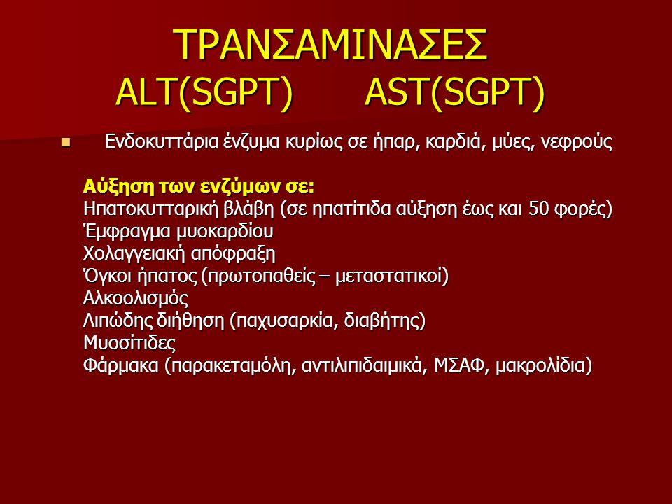 ΤΡΑΝΣΑΜΙΝΑΣΕΣ ALT(SGPT) AST(SGPT) Ενδοκυττάρια ένζυμα κυρίως σε ήπαρ, καρδιά, μύες, νεφρούς Ενδοκυττάρια ένζυμα κυρίως σε ήπαρ, καρδιά, μύες, νεφρούς Αύξηση των ενζύμων σε: Αύξηση των ενζύμων σε: Ηπατοκυτταρική βλάβη (σε ηπατίτιδα αύξηση έως και 50 φορές) Ηπατοκυτταρική βλάβη (σε ηπατίτιδα αύξηση έως και 50 φορές) Έμφραγμα μυοκαρδίου Έμφραγμα μυοκαρδίου Χολαγγειακή απόφραξη Χολαγγειακή απόφραξη Όγκοι ήπατος (πρωτοπαθείς – μεταστατικοί) Όγκοι ήπατος (πρωτοπαθείς – μεταστατικοί) Αλκοολισμός Αλκοολισμός Λιπώδης διήθηση (παχυσαρκία, διαβήτης) Λιπώδης διήθηση (παχυσαρκία, διαβήτης) Μυοσίτιδες Μυοσίτιδες Φάρμακα (παρακεταμόλη, αντιλιπιδαιμικά, ΜΣΑΦ, μακρολίδια) Φάρμακα (παρακεταμόλη, αντιλιπιδαιμικά, ΜΣΑΦ, μακρολίδια)