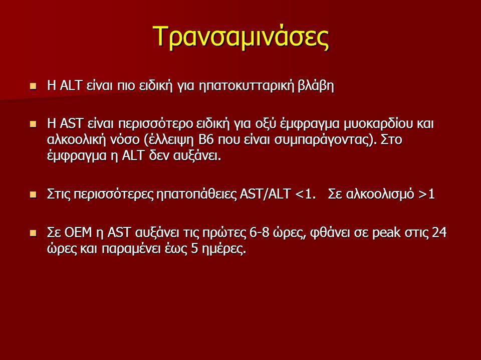 Τρανσαμινάσες Η ALT είναι πιο ειδική για ηπατοκυτταρική βλάβη Η ALT είναι πιο ειδική για ηπατοκυτταρική βλάβη Η AST είναι περισσότερο ειδική για οξύ έμφραγμα μυοκαρδίου και αλκοολική νόσο (έλλειψη Β6 που είναι συμπαράγοντας).