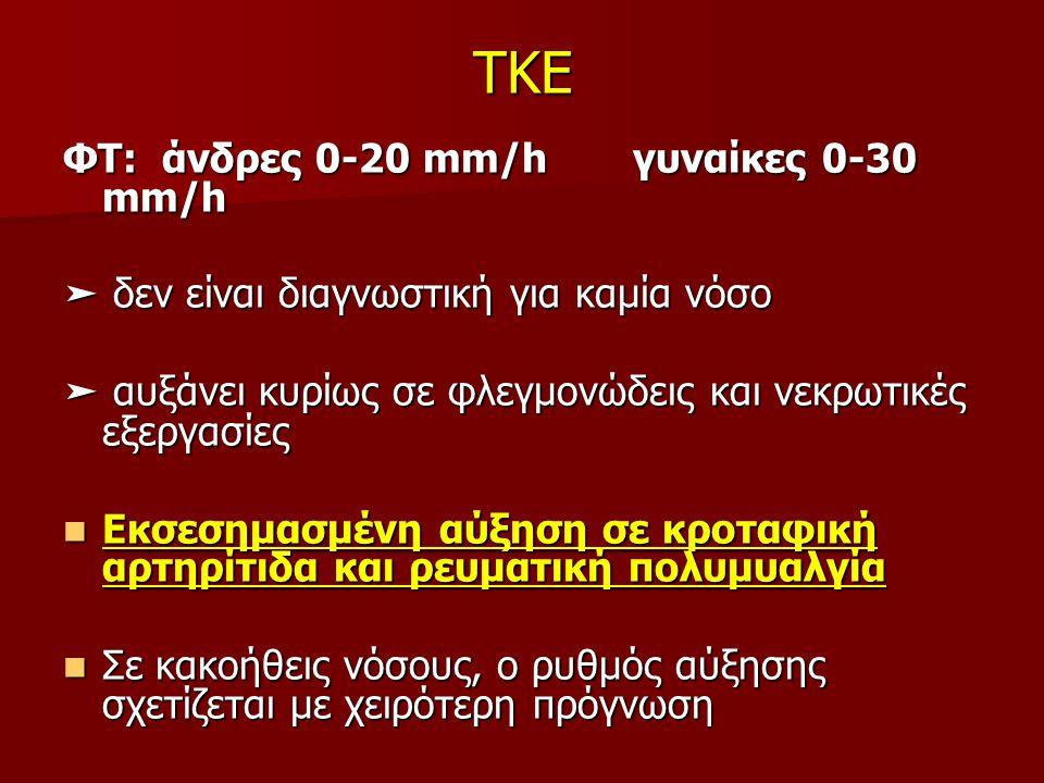 TKE ΦΤ: άνδρες 0-20 mm/h γυναίκες 0-30 mm/h ➤ δεν είναι διαγνωστική για καμία νόσο ➤ αυξάνει κυρίως σε φλεγμονώδεις και νεκρωτικές εξεργασίες Εκσεσημασμένη αύξηση σε κροταφική αρτηρίτιδα και ρευματική πολυμυαλγία Εκσεσημασμένη αύξηση σε κροταφική αρτηρίτιδα και ρευματική πολυμυαλγία Σε κακοήθεις νόσους, ο ρυθμός αύξησης σχετίζεται με χειρότερη πρόγνωση Σε κακοήθεις νόσους, ο ρυθμός αύξησης σχετίζεται με χειρότερη πρόγνωση