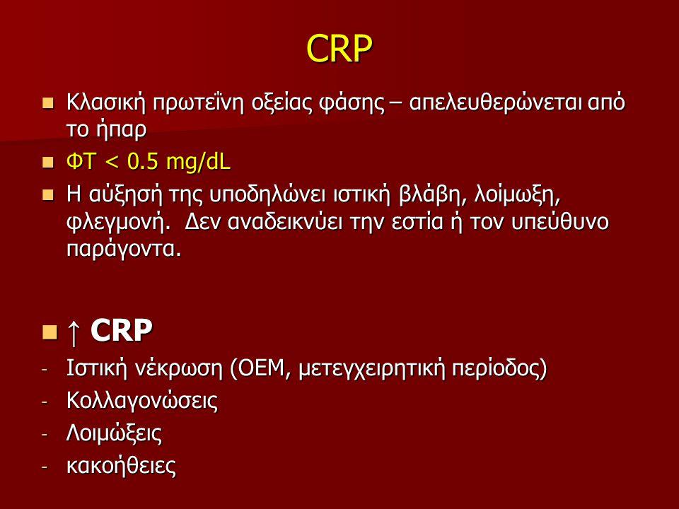 CRP Κλασική πρωτεΐνη οξείας φάσης – απελευθερώνεται από το ήπαρ Κλασική πρωτεΐνη οξείας φάσης – απελευθερώνεται από το ήπαρ ΦΤ < 0.5 mg/dL ΦΤ < 0.5 mg/dL Η αύξησή της υποδηλώνει ιστική βλάβη, λοίμωξη, φλεγμονή.