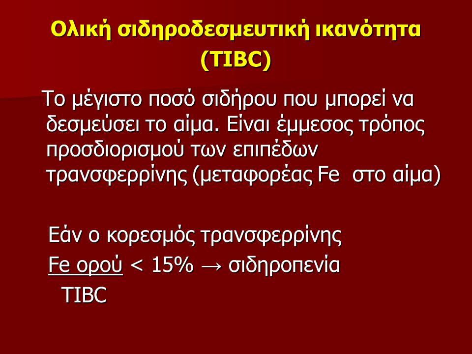 Ολική σιδηροδεσμευτική ικανότητα (TIBC) Το μέγιστο ποσό σιδήρου που μπορεί να δεσμεύσει το αίμα. Είναι έμμεσος τρόπος προσδιορισμού των επιπέδων τρανσ