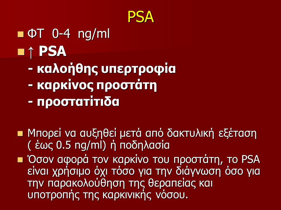 PSA ΦΤ 0-4 ng/ml ΦΤ 0-4 ng/ml ↑ PSA ↑ PSA - καλοήθης υπερτροφία - καλοήθης υπερτροφία - καρκίνος προστάτη - καρκίνος προστάτη - προστατίτιδα - προστατίτιδα Μπορεί να αυξηθεί μετά από δακτυλική εξέταση ( έως 0.5 ng/ml) ή ποδηλασία Μπορεί να αυξηθεί μετά από δακτυλική εξέταση ( έως 0.5 ng/ml) ή ποδηλασία Όσον αφορά τον καρκίνο του προστάτη, το PSA είναι χρήσιμο όχι τόσο για την διάγνωση όσο για την παρακολούθηση της θεραπείας και υποτροπής της καρκινικής νόσου.