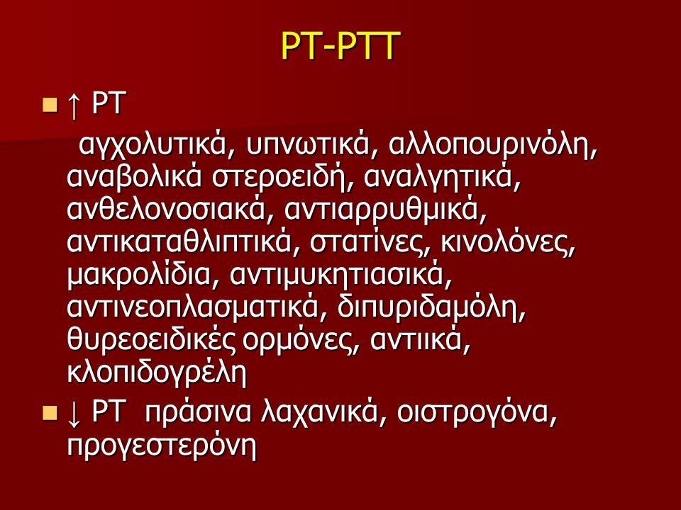 PT-PTT ↑ ΡΤ ↑ ΡΤ αγχολυτικά, υπνωτικά, αλλοπουρινόλη, αναβολικά στεροειδή, αναλγητικά, ανθελονοσιακά, αντιαρρυθμικά, αντικαταθλιπτικά, στατίνες, κινολόνες, μακρολίδια, αντιμυκητιασικά, αντινεοπλασματικά, διπυριδαμόλη, θυρεοειδικές ορμόνες, αντιικά, κλοπιδογρέλη αγχολυτικά, υπνωτικά, αλλοπουρινόλη, αναβολικά στεροειδή, αναλγητικά, ανθελονοσιακά, αντιαρρυθμικά, αντικαταθλιπτικά, στατίνες, κινολόνες, μακρολίδια, αντιμυκητιασικά, αντινεοπλασματικά, διπυριδαμόλη, θυρεοειδικές ορμόνες, αντιικά, κλοπιδογρέλη ↓ ΡΤ πράσινα λαχανικά, οιστρογόνα, προγεστερόνη ↓ ΡΤ πράσινα λαχανικά, οιστρογόνα, προγεστερόνη