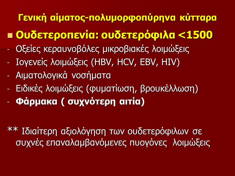 Γενική αίματος-πολυμορφοπύρηνα κύτταρα Ουδετεροπενία: ουδετερόφιλα <1500 Ουδετεροπενία: ουδετερόφιλα <1500 - Οξείες κεραυνοβόλες μικροβιακές λοιμώξεις - Ιογενείς λοιμώξεις (HBV, HCV, EBV, HIV) - Αιματολογικά νοσήματα - Ειδικές λοιμώξεις (φυματίωση, βρουκέλλωση) - Φάρμακα ( συχνότερη αιτία) ** Ιδιαίτερη αξιολόγηση των ουδετερόφιλων σε συχνές επαναλαμβανόμενες πυογόνες λοιμώξεις