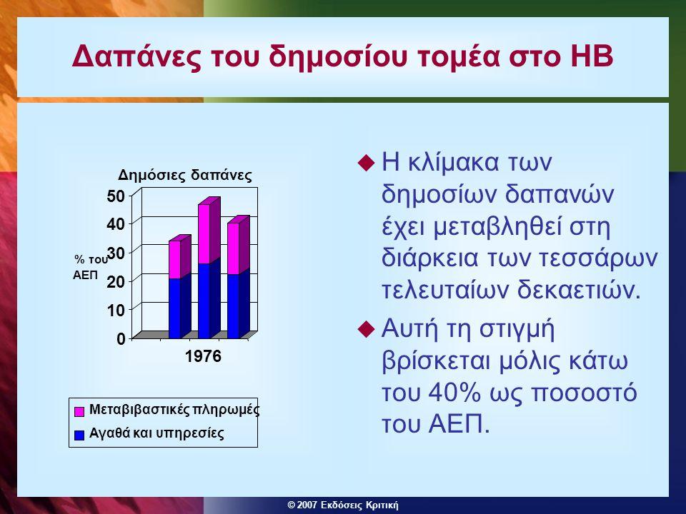 © 2007 Εκδόσεις Κριτική Δαπάνες του δημοσίου τομέα στο ΗΒ  Η κλίμακα των δημοσίων δαπανών έχει μεταβληθεί στη διάρκεια των τεσσάρων τελευταίων δεκαετ
