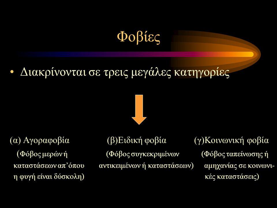 Φοβίες Διακρίνονται σε τρεις μεγάλες κατηγορίες (α) Αγοραφοβία (β)Ειδική φοβία (γ)Κοινωνική φοβία ( Φόβος μερών ή (Φόβος συγκεκριμένων (Φόβος ταπείνωσ