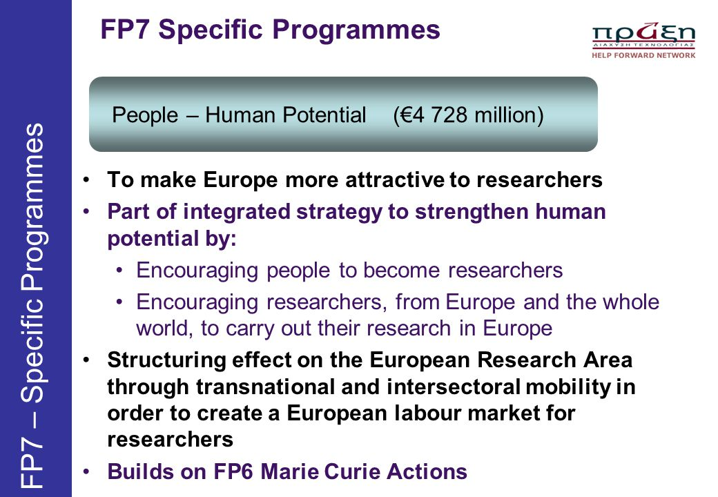 FP7 Specific Programmes People – Human Potential (€4 728 million) FP7 – Specific Programmes To make Europe more attractive to researchers Part of inte
