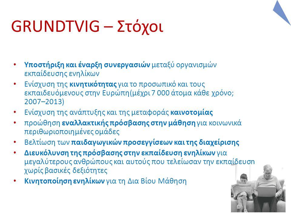 5 5 GRUNDTVIG – Στόχοι Υποστήριξη και έναρξη συνεργασιών μεταξύ οργανισμών εκπαίδευσης ενηλίκων Ενίσχυση της κινητικότητας για το προσωπικό και τους εκπαιδευόμενους στην Ευρώπη(μέχρι 7 000 άτομα κάθε χρόνο; 2007–2013) Ενίσχυση της ανάπτυξης και της μεταφοράς καινοτομίας προώθηση εναλλακτικής πρόσβασης στην μάθηση για κοινωνικά περιθωριοποιημένες ομάδες Βελτίωση των παιδαγωγικών προσεγγίσεων και της διαχείρισης Διευκόλυνση της πρόσβασης στην εκπαίδευση ενηλίκων για μεγαλύτερους ανθρώπους και αυτούς που τελείωσαν την εκπαίδευση χωρίς βασικές δεξιότητες Κινητοποίηση ενηλίκων για τη Δια Βίου Μάθηση