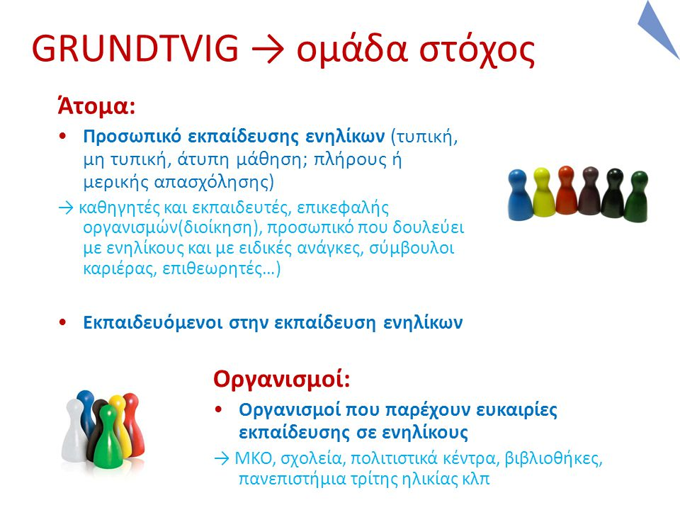 GRUNDTVIG → ομάδα στόχος Άτομα: Προσωπικό εκπαίδευσης ενηλίκων (τυπική, μη τυπική, άτυπη μάθηση; πλήρους ή μερικής απασχόλησης) → καθηγητές και εκπαιδευτές, επικεφαλής οργανισμών(διοίκηση), προσωπικό που δουλεύει με ενηλίκους και με ειδικές ανάγκες, σύμβουλοι καριέρας, επιθεωρητές…) Εκπαιδευόμενοι στην εκπαίδευση ενηλίκων Οργανισμοί: Οργανισμοί που παρέχουν ευκαιρίες εκπαίδευσης σε ενηλίκους → ΜΚΟ, σχολεία, πολιτιστικά κέντρα, βιβλιοθήκες, πανεπιστήμια τρίτης ηλικίας κλπ