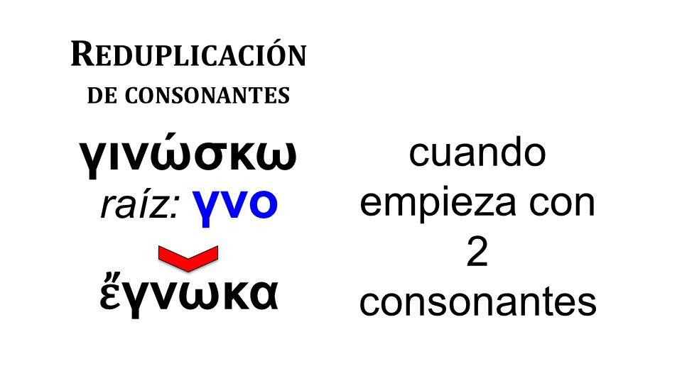 R EDUPLICACIÓN DE CONSONANTES γινώσκω raíz: γνο cuando empieza con 2 consonantes ἔ γνωκα