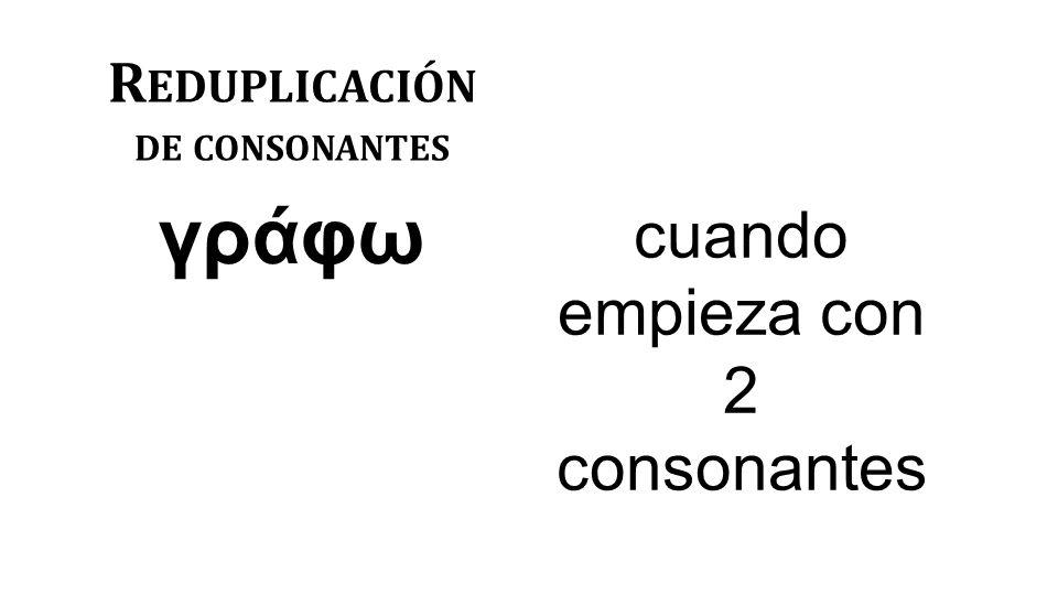 R EDUPLICACIÓN DE CONSONANTES γράφω cuando empieza con 2 consonantes