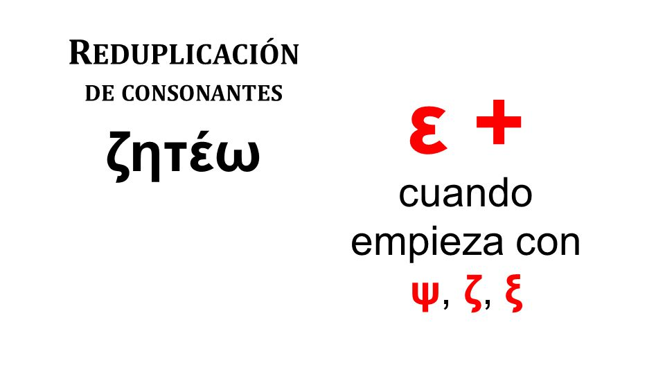R EDUPLICACIÓN DE CONSONANTES ζητέω cuando empieza con ψ, ζ, ξ ε +