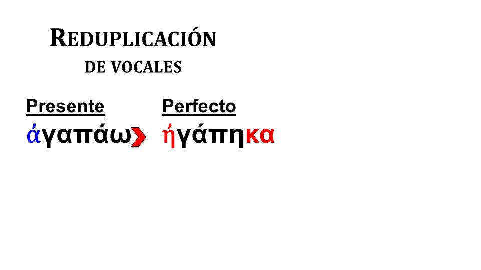 R EDUPLICACIÓN DE VOCALES Presente ἀ γαπάω Perfecto ἠ γάπηκα