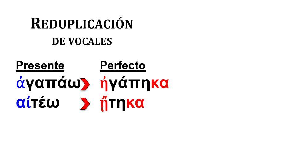 R EDUPLICACIÓN DE VOCALES Presente ἀ γαπάω α ἰ τέω Perfecto ἠ γάπηκα ᾔ τηκα