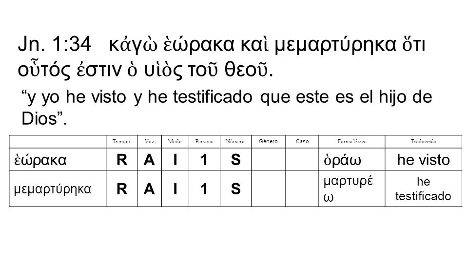 TiempoVozModoPersonaNúmero GéneroCaso Forma léxicaTraducción ἑ ώρακα RAI1S ὁ ράω he visto μεμαρτύρηκα RAI1S μαρτυρέ ω he testificado Jn.