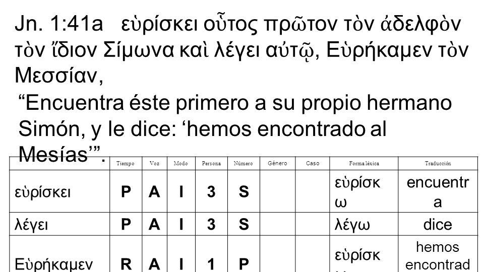 TiempoVozModoPersonaNúmero GéneroCaso Forma léxicaTraducción ε ὑ ρίσκει PAI3S ε ὑ ρίσκ ω encuentr a λέγειPAI3Sλέγωdice Ε ὑ ρήκαμεν RAI1P ε ὑ ρίσκ ω he