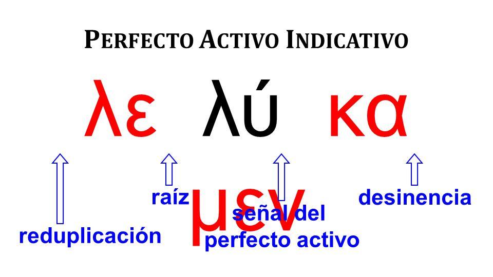 λε λύ κα μεν P ERFECTO A CTIVO I NDICATIVO reduplicación raíz señal del perfecto activo desinencia
