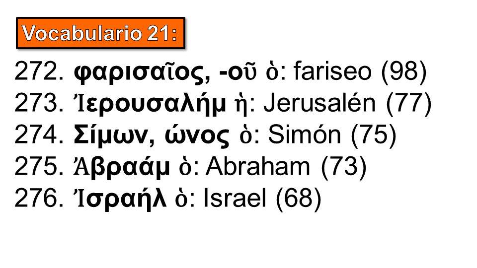 272. φαρισα ῖ ος, -o ῦ ὁ : fariseo (98) 273. Ἰ ερουσαλήμ ἡ : Jerusalén (77) 274. Σίμων, ώνος ὁ : Simón (75) 275. Ἀ βραάμ ὁ : Abraham (73) 276. Ἰ σραήλ