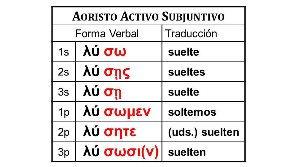 A ORISTO A CTIVO S UBJUNTIVO Forma VerbalTraducción 1s λύ σω suelte 2s λύ σ ῃ ς sueltes 3s λύ σ ῃ suelte 1p λύ σωμεν soltemos 2p λύ σητε (uds.) suelten 3p λύ σωσι(ν) suelten