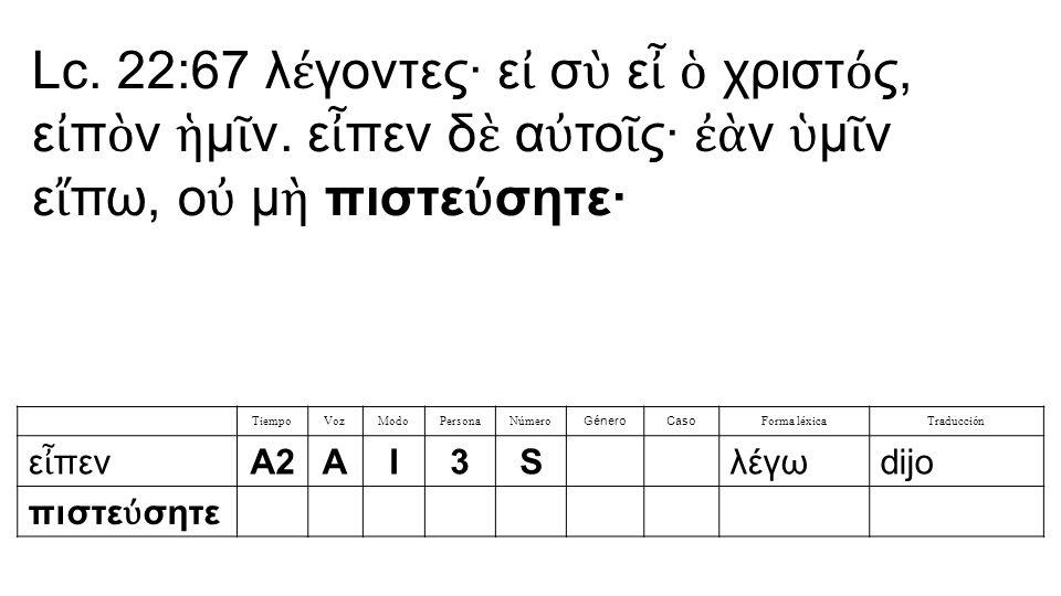 Lc. 22:67 λ έ γοντες· ε ἰ σ ὺ ε ἶ ὁ χριστ ό ς, ε ἰ π ὸ ν ἡ μ ῖ ν.