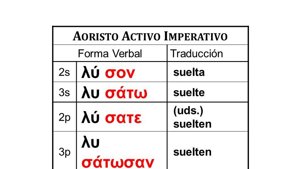 A ORISTO A CTIVO I MPERATIVO Forma VerbalTraducción 2s λύ σον suelta 3s λυ σάτω suelte 2p λύ σατε (uds.) suelten 3p λυ σάτωσαν suelten