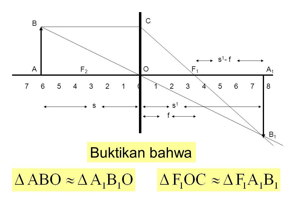 F2F2 7 6 5 4 3 2 1 0 1 2 3 4 5 6 7 8 F1F1 A B A1A1 B1B1 O C ss1s1 f s 1 - f Buktikan bahwa