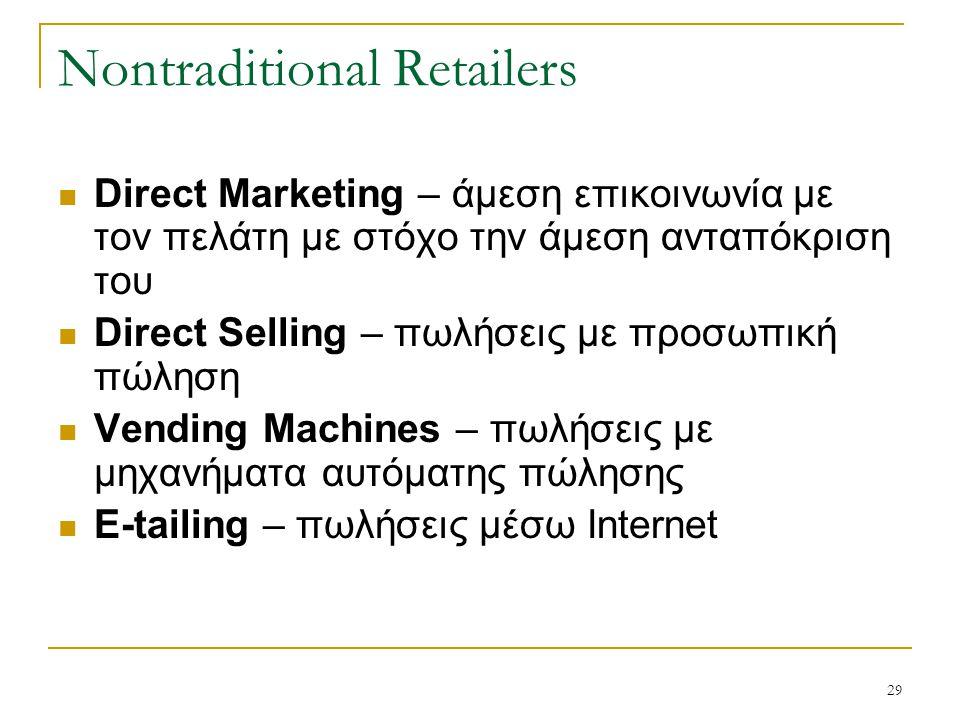 29 Nontraditional Retailers Direct Marketing – άμεση επικοινωνία με τον πελάτη με στόχο την άμεση ανταπόκριση του Direct Selling – πωλήσεις με προσωπική πώληση Vending Machines – πωλήσεις με μηχανήματα αυτόματης πώλησης E-tailing – πωλήσεις μέσω Internet