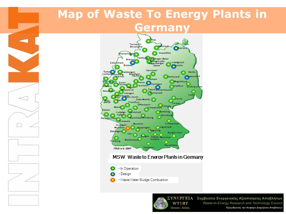Map of Waste To Energy Plants in Germany MSW Waste to Energy Plants in Germany – In Operation – Design – Waste Water Sludge Combustion