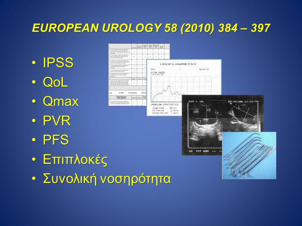 EUROPEAN UROLOGY 58 (2010) 384 – 397 IPSSIPSS QoLQoL QmaxQmax PVRPVR PFSPFS EπιπλοκέςEπιπλοκές Συνολική νοσηρότηταΣυνολική νοσηρότητα