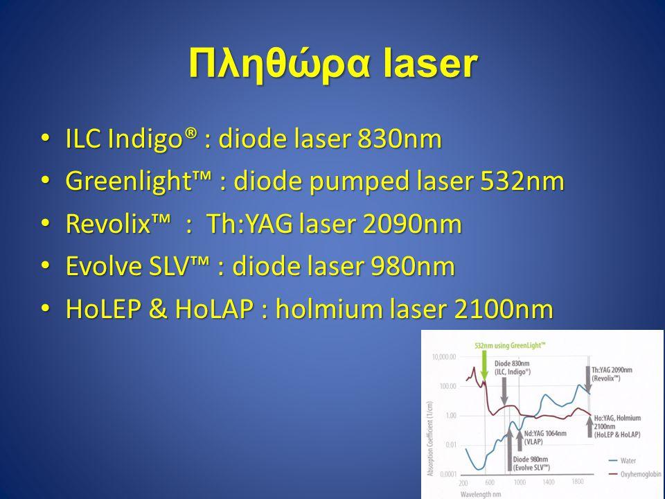 Πληθώρα laser ILC Indigo® : diode laser 830nm ILC Indigo® : diode laser 830nm Greenlight™ : diode pumped laser 532nm Greenlight™ : diode pumped laser 532nm Revolix™ : Th:YAG laser 2090nm Revolix™ : Th:YAG laser 2090nm Evolve SLV™ : diode laser 980nm Evolve SLV™ : diode laser 980nm HoLEP & HoLAP : holmium laser 2100nm HoLEP & HoLAP : holmium laser 2100nm