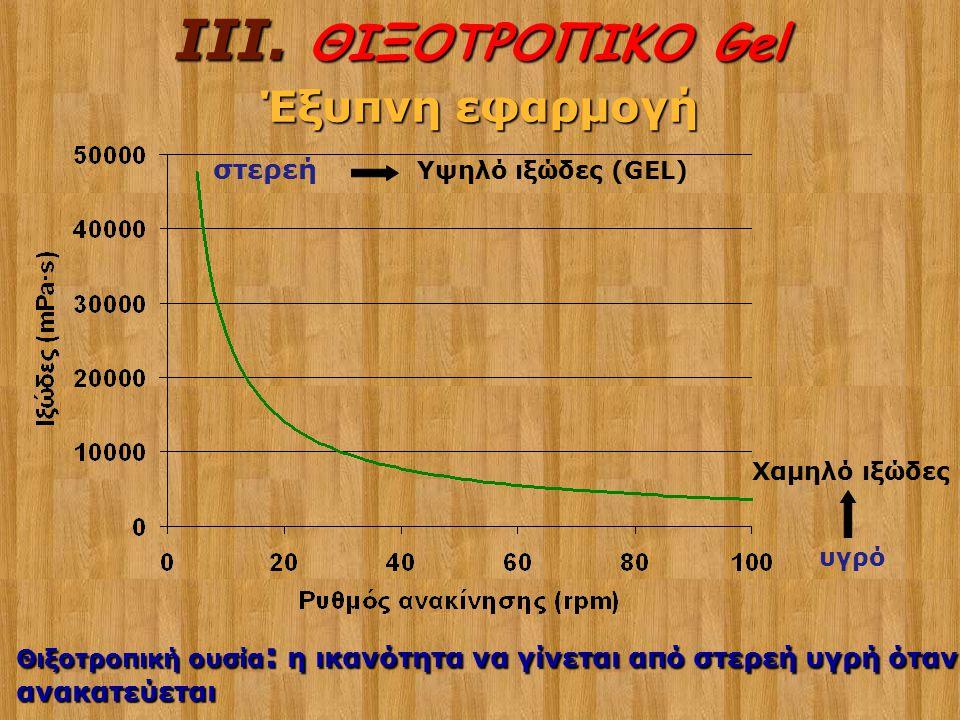 στερεή υγρό Θιξοτροπική ουσία : η ικανότητα να γίνεται από στερεή υγρή όταν ανακατεύεται Υψηλό ιξώδες (GEL) Χαμηλό ιξώδες III. ΘΙΞΟΤΡΟΠΙΚΟ Gel Έξυπνη