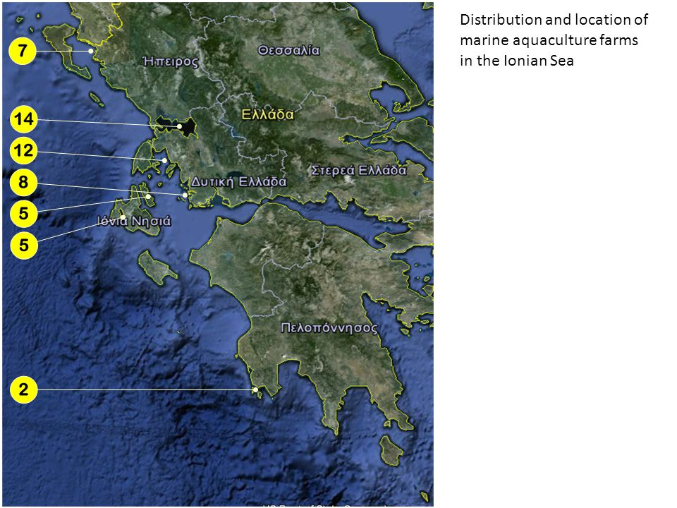 Distribution and location of marine aquaculture farms in the Ionian Sea