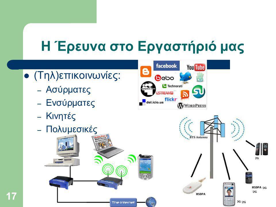 Η Έρευνα στο Εργαστήριό μας (Τηλ)επικοινωνίες: – Ασύρματες – Ενσύρματες – Κινητές – Πολυμεσικές 17