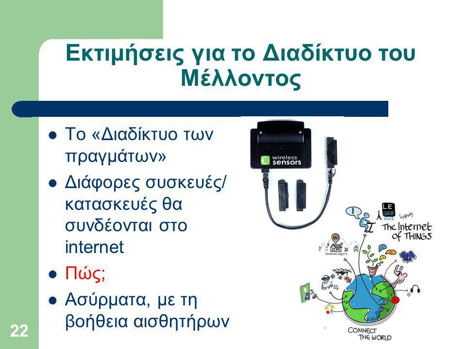Εκτιμήσεις για το Διαδίκτυο του Μέλλοντος Το «Διαδίκτυο των πραγμάτων» Διάφορες συσκευές/ κατασκευές θα συνδέονται στο internet Πώς; Ασύρματα, με τη βοήθεια αισθητήρων 22