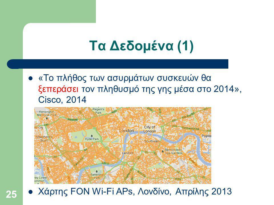 Τα Δεδομένα (1) «Το πλήθος των ασυρμάτων συσκευών θα ξεπεράσει τον πληθυσμό της γης μέσα στο 2014», Cisco, 2014 Χάρτης FON Wi-Fi APs, Λονδίνο, Απρίλης 2013 25
