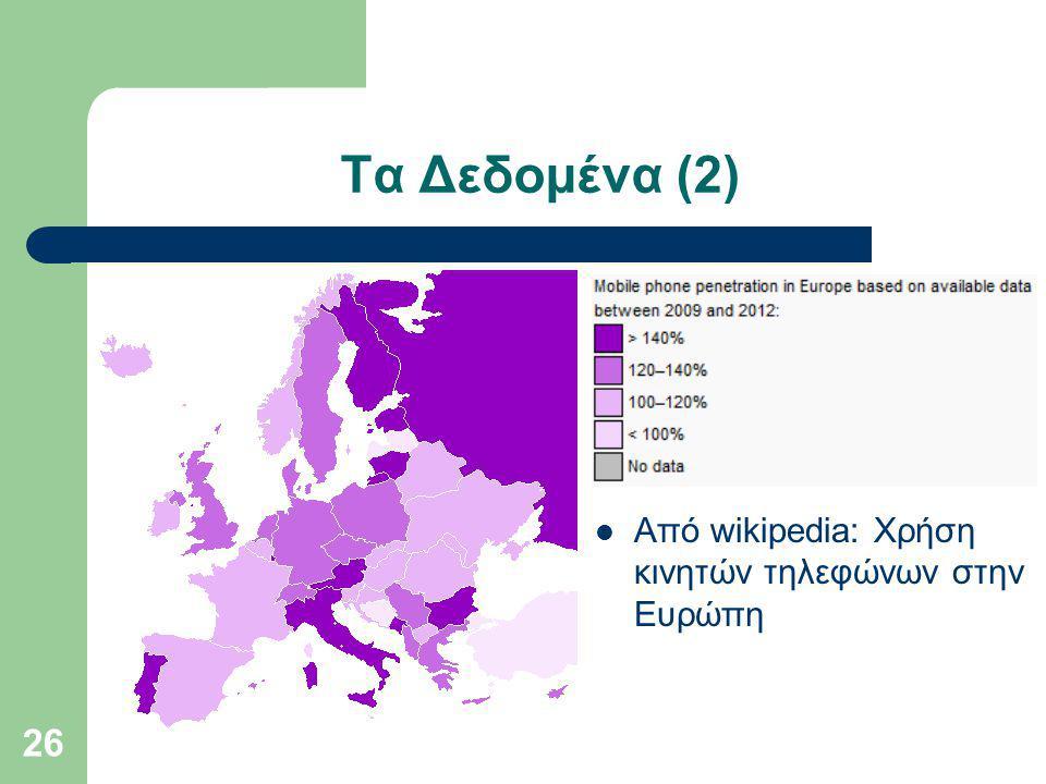 Τα Δεδομένα (2) Από wikipedia: Χρήση κινητών τηλεφώνων στην Ευρώπη 26