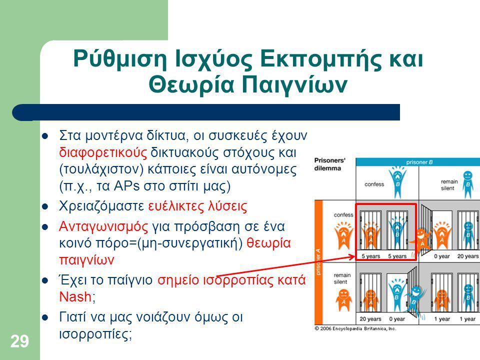 Ρύθμιση Ισχύος Εκπομπής και Θεωρία Παιγνίων Στα μοντέρνα δίκτυα, οι συσκευές έχουν διαφορετικούς δικτυακούς στόχους και (τουλάχιστον) κάποιες είναι αυτόνομες (π.χ., τα APs στο σπίτι μας) Χρειαζόμαστε ευέλικτες λύσεις Ανταγωνισμός για πρόσβαση σε ένα κοινό πόρο=(μη-συνεργατική) θεωρία παιγνίων Έχει το παίγνιο σημείο ισορροπίας κατά Nash; Γιατί να μας νοιάζουν όμως οι ισορροπίες; 29