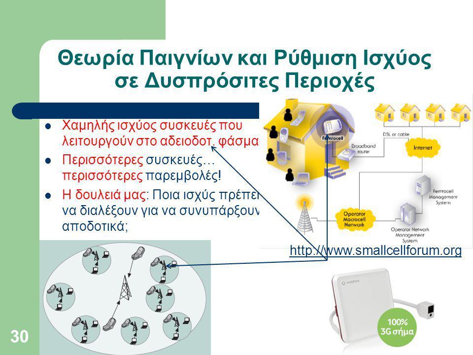 Θεωρία Παιγνίων και Ρύθμιση Ισχύος σε Δυσπρόσιτες Περιοχές Χαμηλής ισχύος συσκευές που λειτουργούν στο αδειοδοτ.
