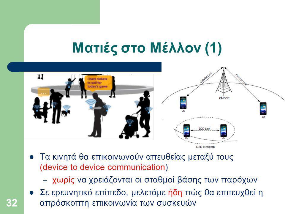 Ματιές στο Μέλλον (1) Τα κινητά θα επικοινωνούν απευθείας μεταξύ τους (device to device communication) – χωρίς να χρειάζονται οι σταθμοί βάσης των παρόχων Σε ερευνητικό επίπεδο, μελετάμε ήδη πώς θα επιτευχθεί η απρόσκοπτη επικοινωνία των συσκευών 32