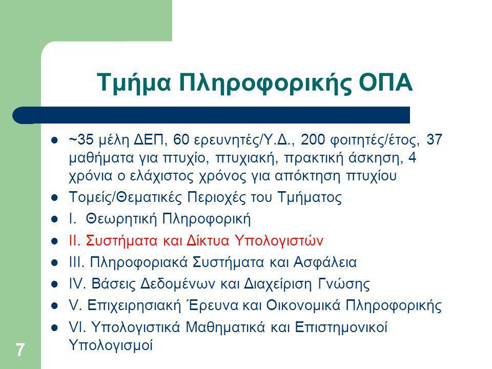 Τμήμα Πληροφορικής ΟΠΑ ~35 μέλη ΔΕΠ, 60 ερευνητές/Υ.Δ., 200 φοιτητές/έτος, 37 μαθήματα για πτυχίο, πτυχιακή, πρακτική άσκηση, 4 χρόνια ο ελάχιστος χρόνος για απόκτηση πτυχίου Τομείς/Θεματικές Περιοχές του Τμήματος I.