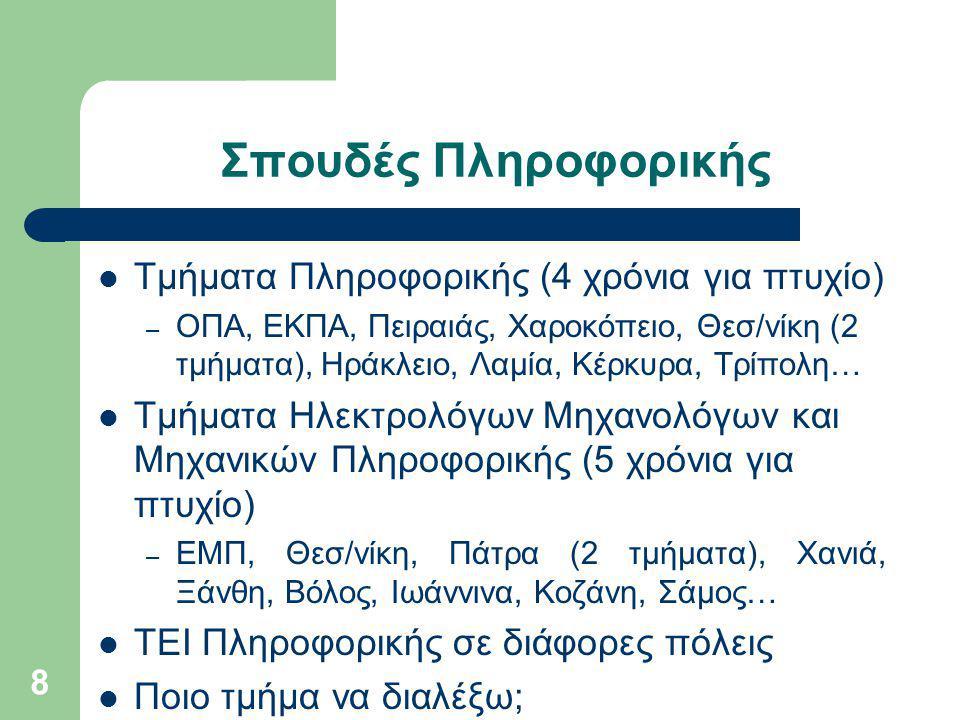 Σπουδές Πληροφορικής 8 Τμήματα Πληροφορικής (4 χρόνια για πτυχίο) – ΟΠΑ, ΕΚΠΑ, Πειραιάς, Χαροκόπειο, Θεσ/νίκη (2 τμήματα), Ηράκλειο, Λαμία, Κέρκυρα, Τρίπολη… Τμήματα Ηλεκτρολόγων Μηχανολόγων και Μηχανικών Πληροφορικής (5 χρόνια για πτυχίο) – ΕΜΠ, Θεσ/νίκη, Πάτρα (2 τμήματα), Χανιά, Ξάνθη, Βόλος, Ιωάννινα, Κοζάνη, Σάμος… ΤΕΙ Πληροφορικής σε διάφορες πόλεις Ποιο τμήμα να διαλέξω;